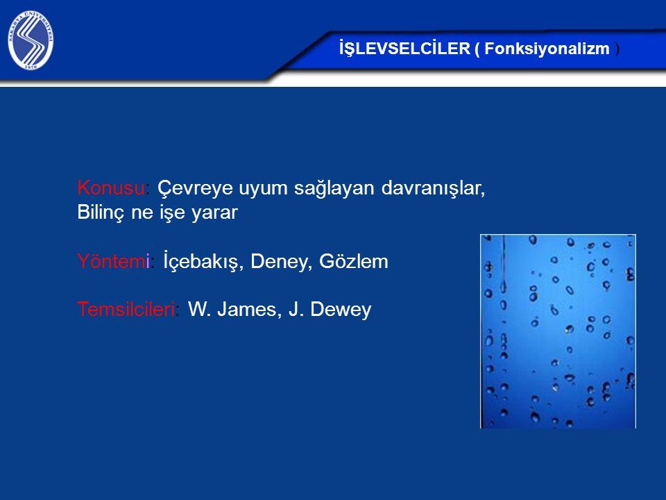 Konusu: Çevreye uyum sağlayan davranışlar, Bilinç ne işe yarar Yöntemi: İçebakış, Deney, Gözlem Temsilcileri: W. James, J. Dewey İŞLEVSELCİLER ( Fonks