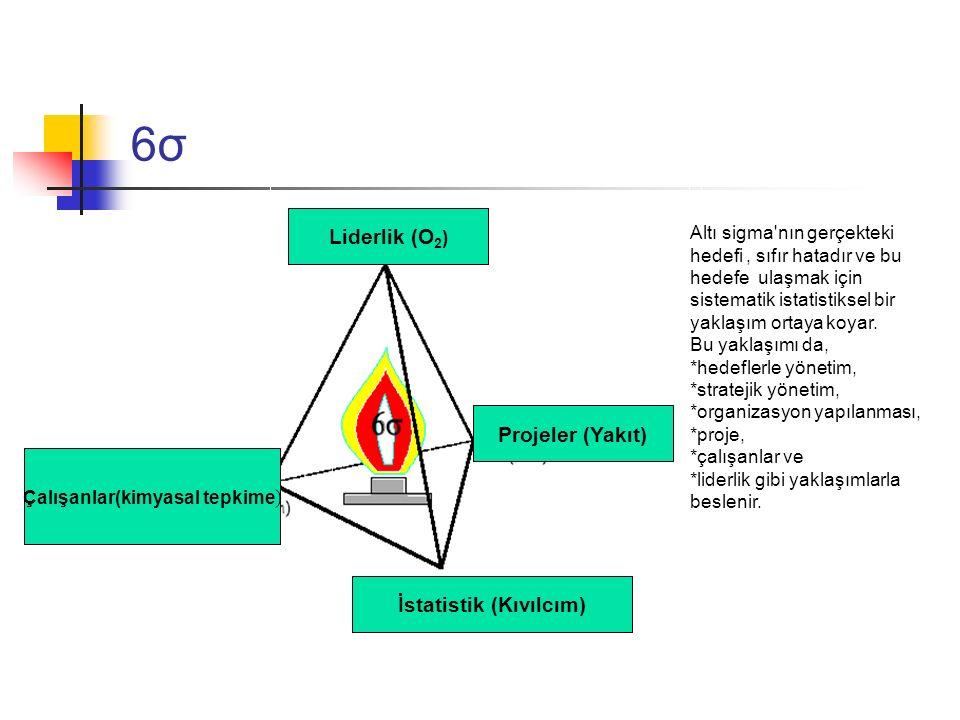 6σ6σ Altı sigma'nın gerçekteki hedefi, sıfır hatadır ve bu hedefe ulaşmak için sistematik istatistiksel bir yaklaşım ortaya koyar. Bu yaklaşımı da, *h