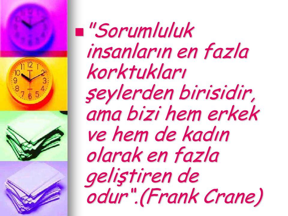 Sorumluluk insanların en fazla korktukları şeylerden birisidir, ama bizi hem erkek ve hem de kadın olarak en fazla geliştiren de odur .(Frank Crane) Sorumluluk insanların en fazla korktukları şeylerden birisidir, ama bizi hem erkek ve hem de kadın olarak en fazla geliştiren de odur .(Frank Crane)