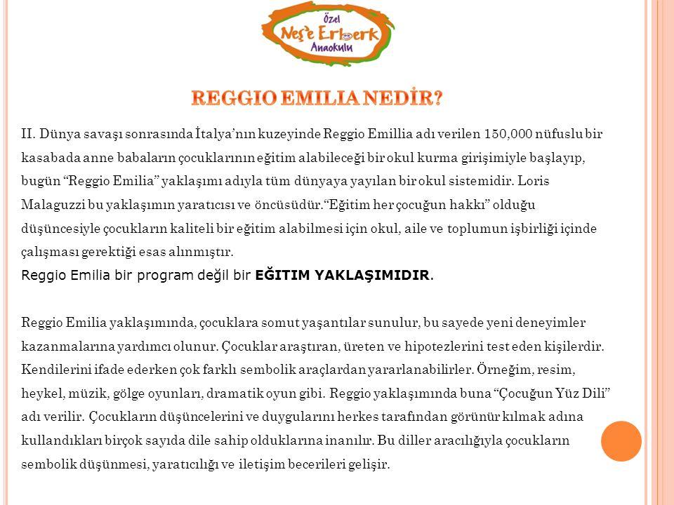 Reggio Emilia okullarında proje bazlı öğrenme esastır.