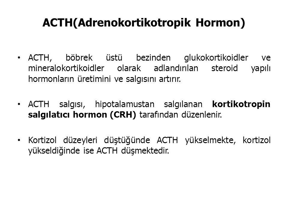 ACTH(Adrenokortikotropik Hormon) ACTH, böbrek üstü bezinden glukokortikoidler ve mineralokortikoidler olarak adlandırılan steroid yapılı hormonların üretimini ve salgısını artırır.