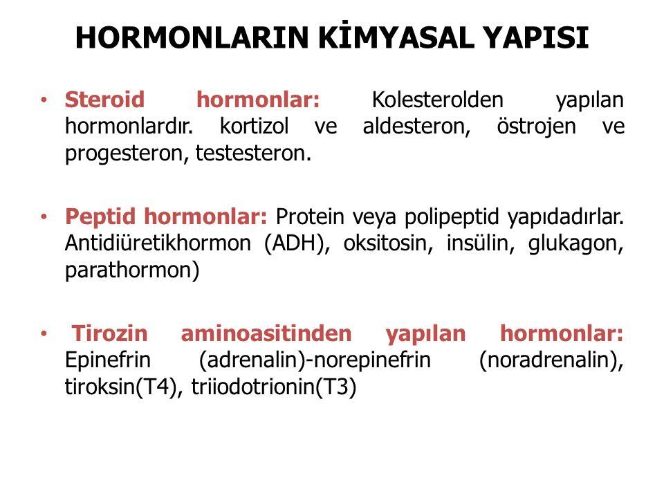 HORMONLARIN KİMYASAL YAPISI Steroid hormonlar: Kolesterolden yapılan hormonlardır. kortizol ve aldesteron, östrojen ve progesteron, testesteron. Pepti