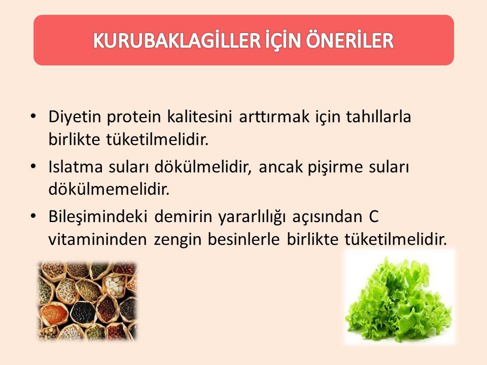 Diyetin protein kalitesini arttırmak için tahıllarla birlikte tüketilmelidir. Islatma suları dökülmelidir, ancak pişirme suları dökülmemelidir. Bileşi