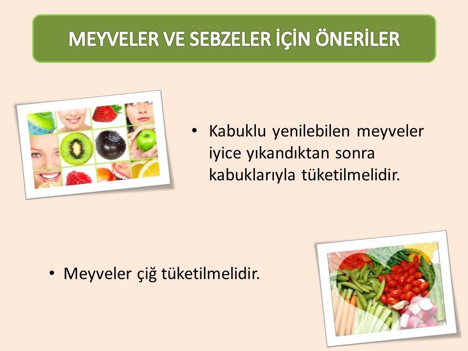 Kabuklu yenilebilen meyveler iyice yıkandıktan sonra kabuklarıyla tüketilmelidir. Meyveler çiğ tüketilmelidir.