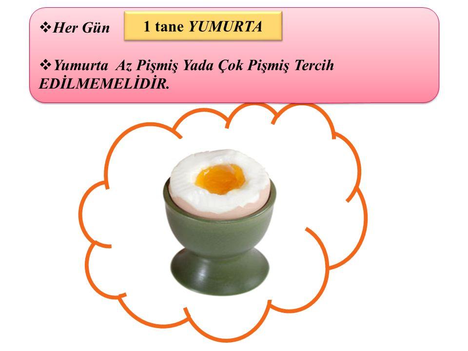  Her Gün  Yumurta Az Pişmiş Yada Çok Pişmiş Tercih EDİLMEMELİDİR.