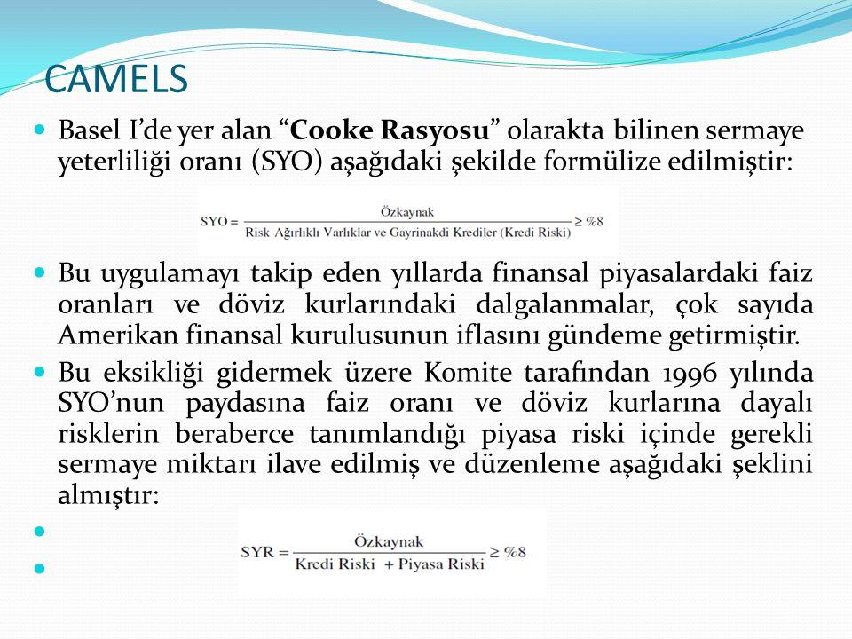 CAMELS Türkiye'de Şubat/2001 de uygulanmaya başlayan Basel I standartları risk ölçümünde yetersiz kalmıştır.