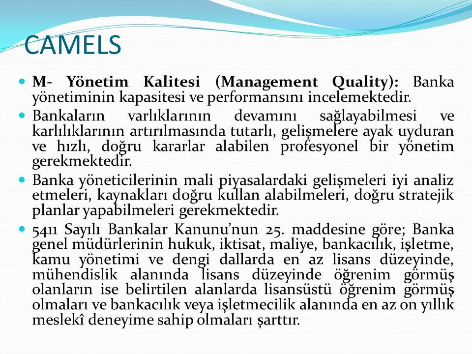 CAMELS E- Kazançlar (Earnings): Kazanç kriteri bankaların karlılığını değerlendiren kriter olup, hem tarihsel ve kalite olarak kazançları değerlendirirken hem de mevcut yapının sürdürülebilirliği dikkate alınmaktadır.