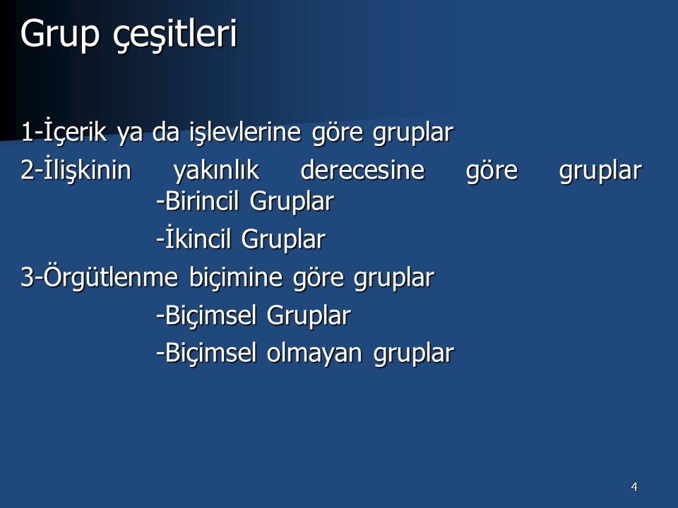 Grup çeşitleri 1-İçerik ya da işlevlerine göre gruplar 2-İlişkinin yakınlık derecesine göre gruplar -Birincil Gruplar -İkincil Gruplar 3-Örgütlenme biçimine göre gruplar -Biçimsel Gruplar -Biçimsel olmayan gruplar 4