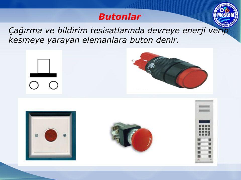 Butonlar Çağırma ve bildirim tesisatlarında devreye enerji verip kesmeye yarayan elemanlara buton denir.