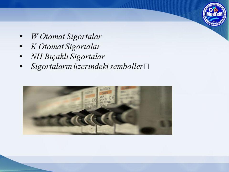 W Otomat Sigortalar K Otomat Sigortalar NH Bıçaklı Sigortalar Sigortaların üzerindeki semboller