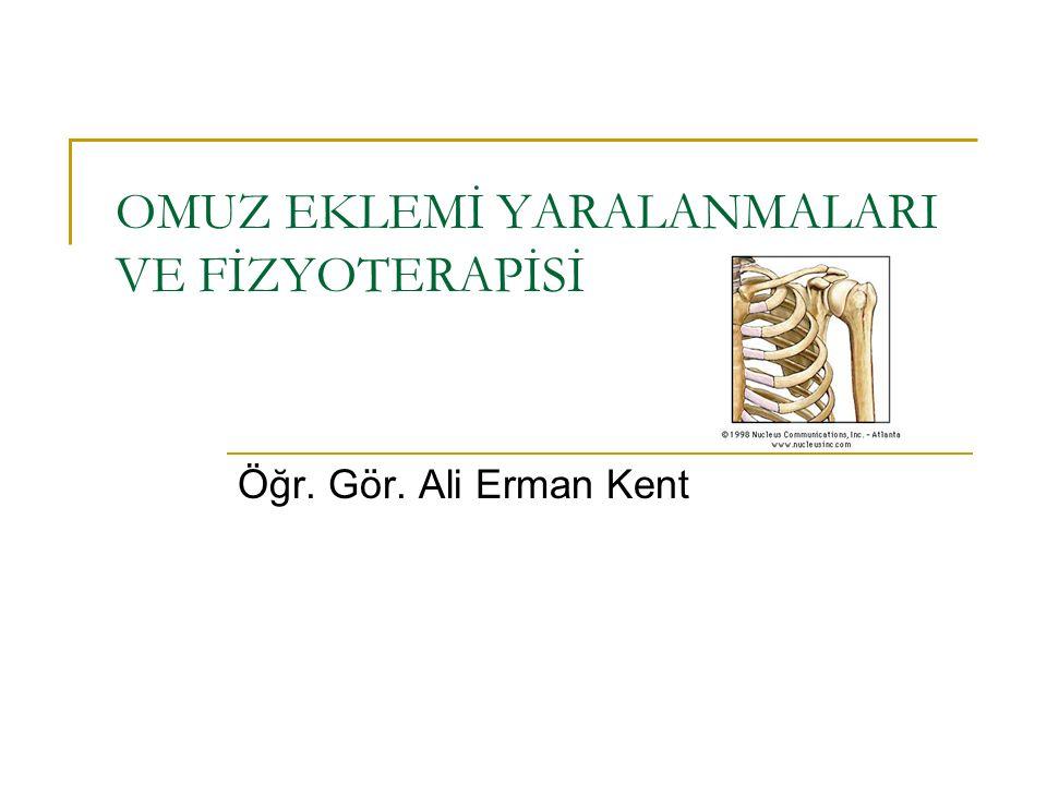 OMUZ EKLEMİ YARALANMALARI VE FİZYOTERAPİSİ Öğr. Gör. Ali Erman Kent