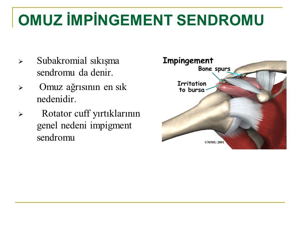 OMUZ İMPİNGEMENT SENDROMU  Subakromial sıkışma sendromu da denir.  Omuz ağrısının en sık nedenidir.  Rotator cuff yırtıklarının genel nedeni impigm