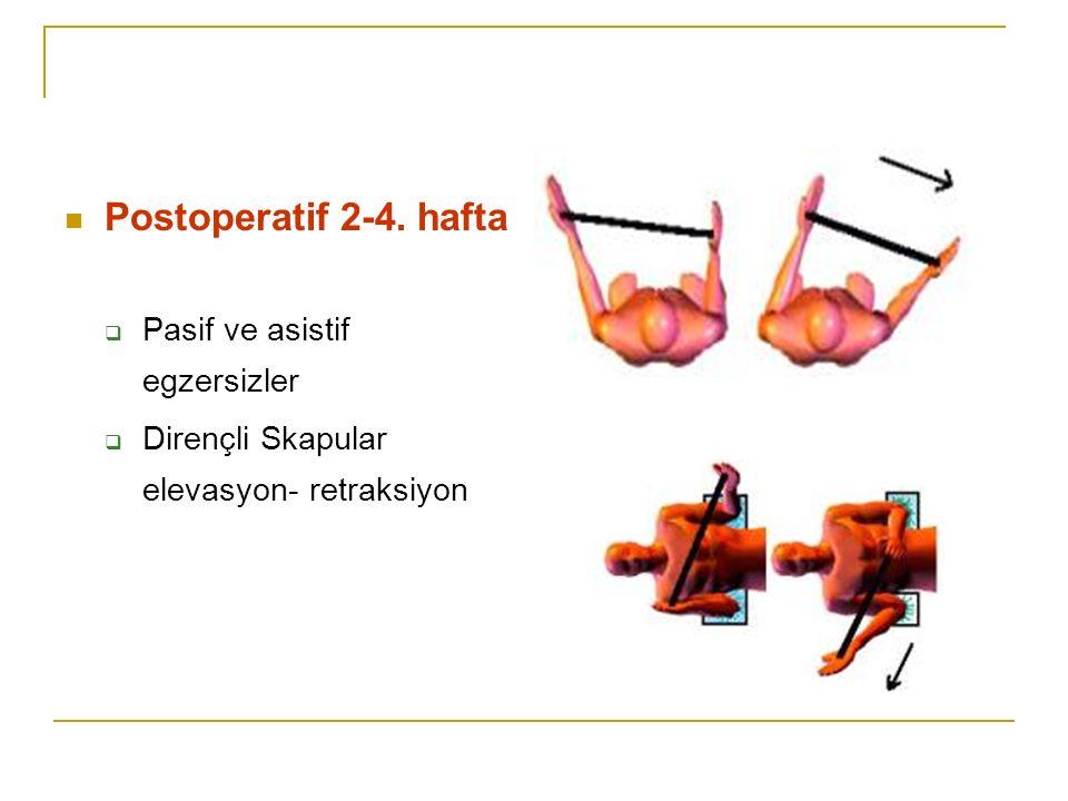Postoperatif 2-4. hafta  Pasif ve asistif egzersizler  Dirençli Skapular elevasyon- retraksiyon