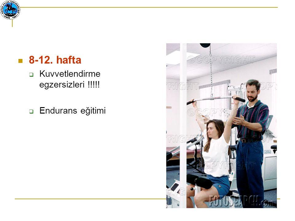 8-12. hafta  Kuvvetlendirme egzersizleri !!!!!  Endurans eğitimi