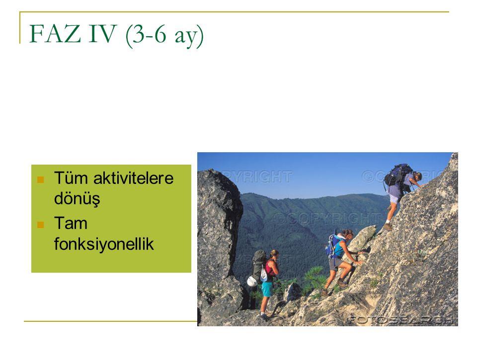FAZ IV (3-6 ay) Tüm aktivitelere dönüş Tam fonksiyonellik