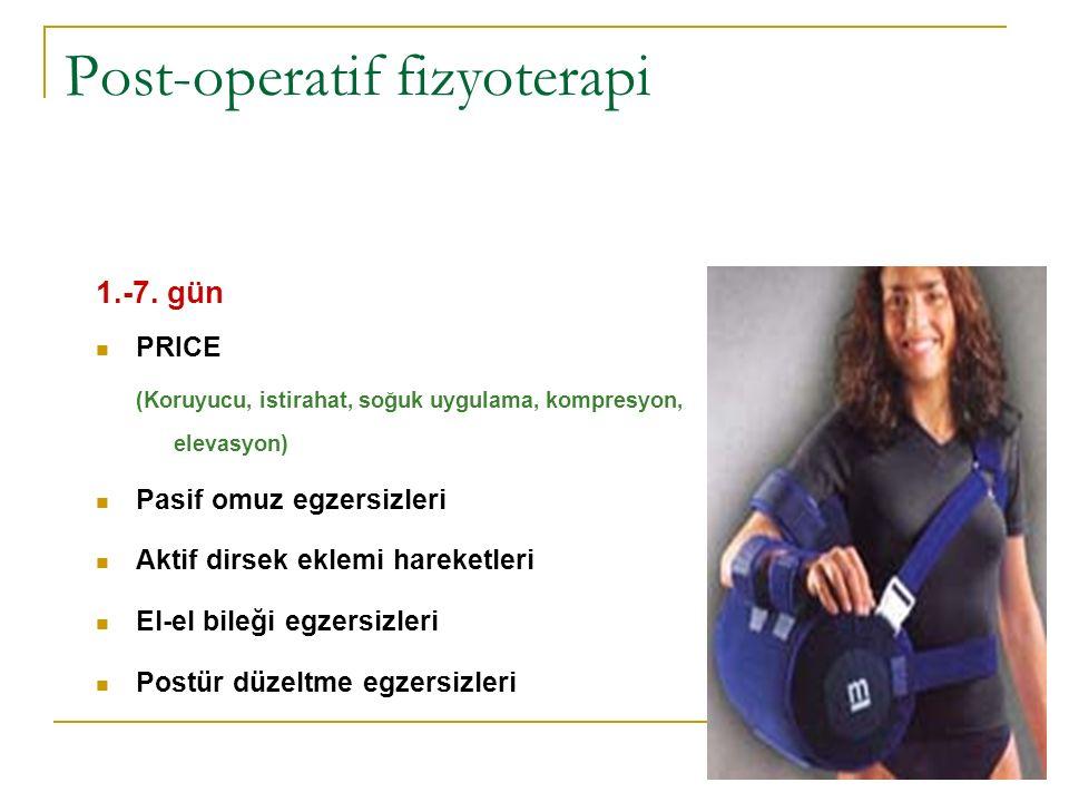 Post-operatif fizyoterapi 1.-7. gün PRICE (Koruyucu, istirahat, soğuk uygulama, kompresyon, elevasyon) Pasif omuz egzersizleri Aktif dirsek eklemi har
