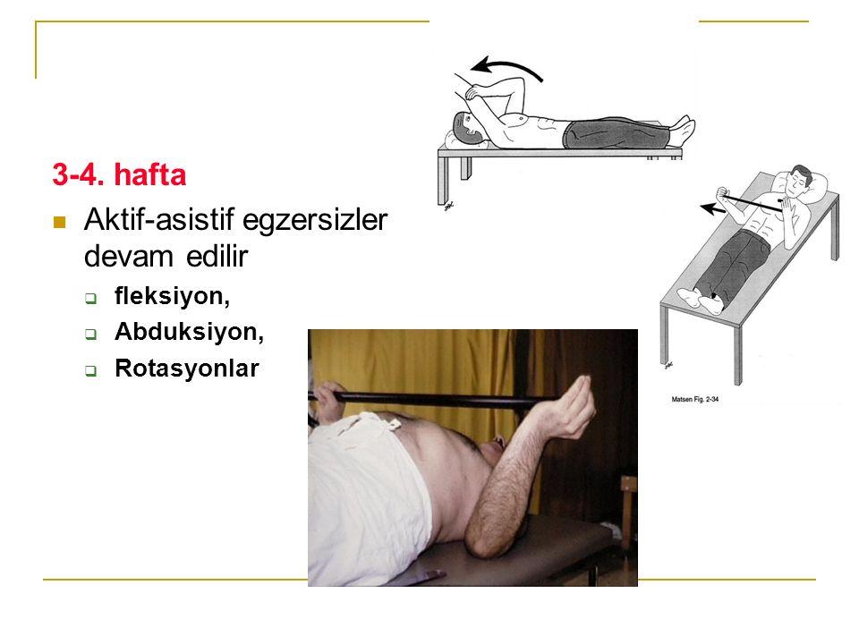 3-4. hafta Aktif-asistif egzersizler devam edilir  fleksiyon,  Abduksiyon,  Rotasyonlar