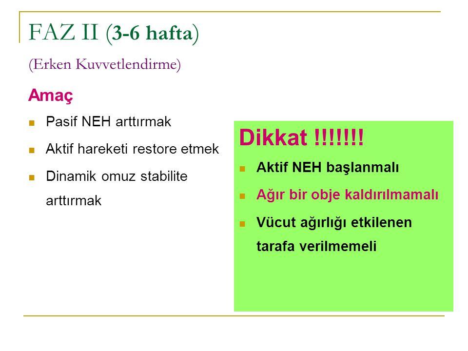 FAZ II ( 3-6 hafta ) (Erken Kuvvetlendirme) Amaç Pasif NEH arttırmak Aktif hareketi restore etmek Dinamik omuz stabilite arttırmak Dikkat !!!!!!! Akti