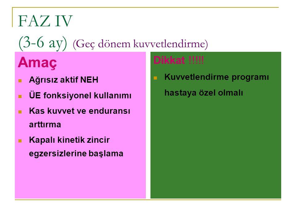 FAZ IV (3-6 ay) (Geç dönem kuvvetlendirme) Amaç Ağrısız aktif NEH ÜE fonksiyonel kullanımı Kas kuvvet ve enduransı arttırma Kapalı kinetik zincir egze