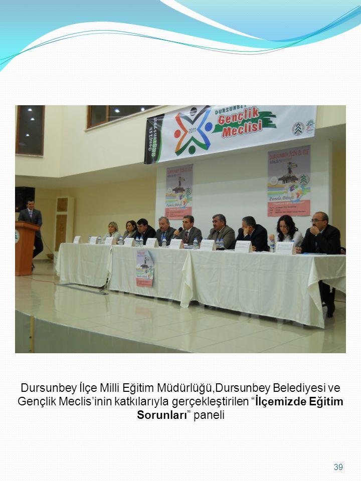 """39 Dursunbey İlçe Milli Eğitim Müdürlüğü,Dursunbey Belediyesi ve Gençlik Meclis'inin katkılarıyla gerçekleştirilen """"İlçemizde Eğitim Sorunları"""" paneli"""