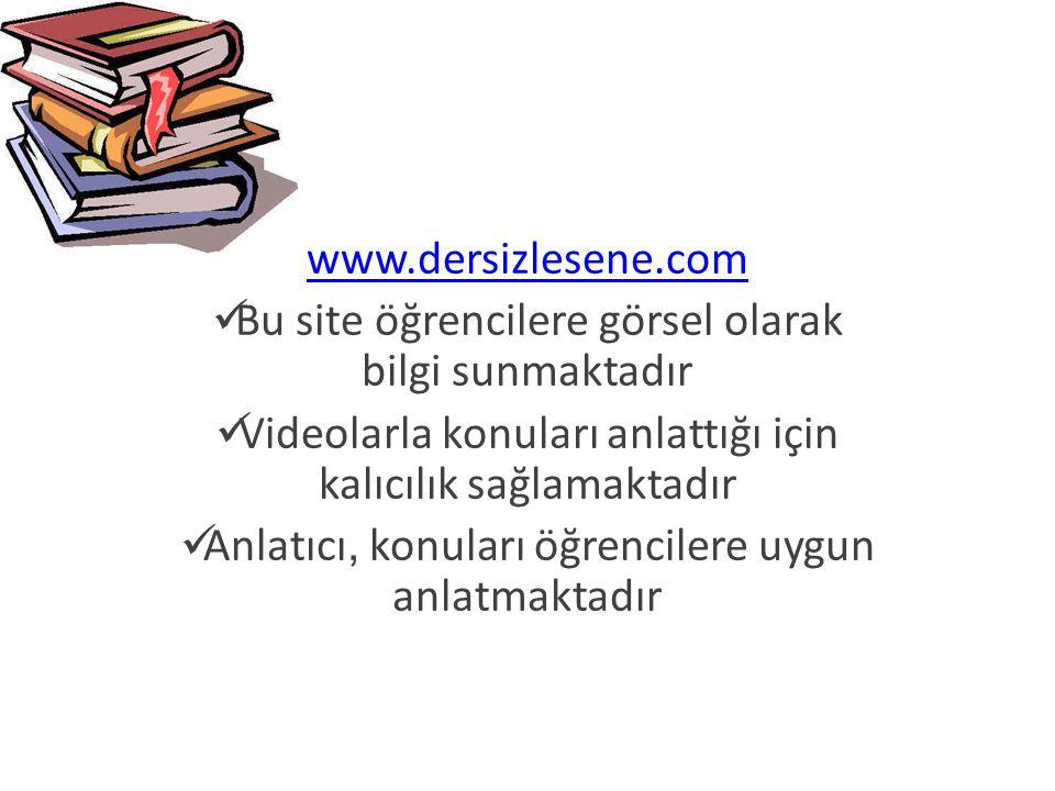 www.derscalisiyorum.com Bu sitede konular belli bir düzen dahilinde sunulmuştur Farlı örneklerle konular pekiştirilmeye çalışılmıştır Görsel öğelerle sunumlar desteklenmiştir