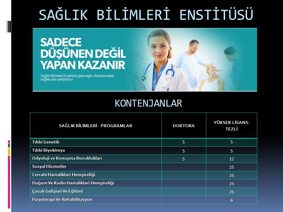 SAĞLIK BİLİMLERİ ENSTİTÜSÜ KONTENJANLAR SAĞLIK BİLİMLERİ - PROGRAMLAR DOKTORA YÜKSEK LİSANS- TEZLİ Tıbbi Genetik 55 Tıbbi Biyokimya 55 Odyoloji ve Konuşma Bozuklukları 512 Sosyal Hizmetler 25 Cerrahi Hastaliklari Hemşireliği 25 Doğum Ve Kadin Hastaliklari Hemşireliği 25 Çocuk Gelişimi Ve Eğitimi 25 Fizyoterapi Ve Rehabilitasyon 6