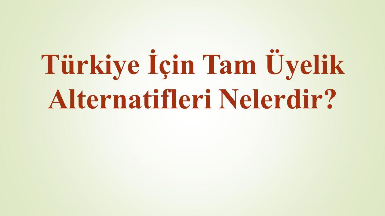 Türkiye'nin AB serüveni Ortak üyelik başvurusu 1958 (57 yıl) Tam üyelik başvurusu 1987 (28 yıl) Gümrük Birliği 1996 (19 yıl) Adaylık statüsü 1999 (16 yıl) Müzakerelerin başlaması 2005 (10 yıl)