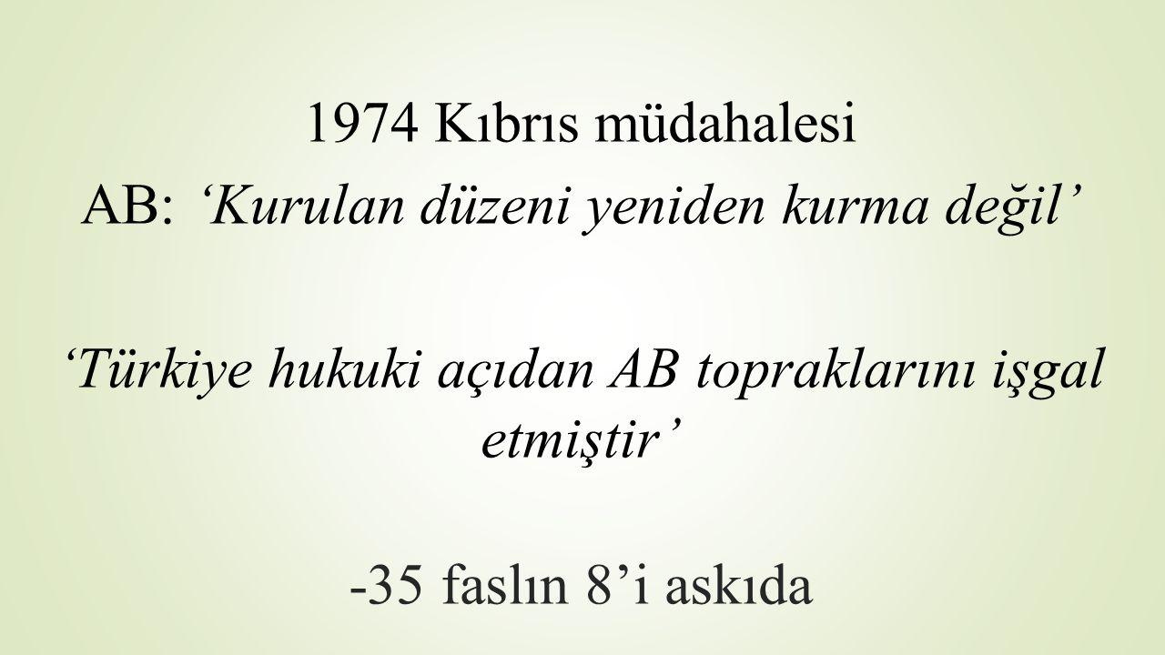 1974 Kıbrıs müdahalesi AB: 'Kurulan düzeni yeniden kurma değil' 'Türkiye hukuki açıdan AB topraklarını işgal etmiştir' -35 faslın 8'i askıda