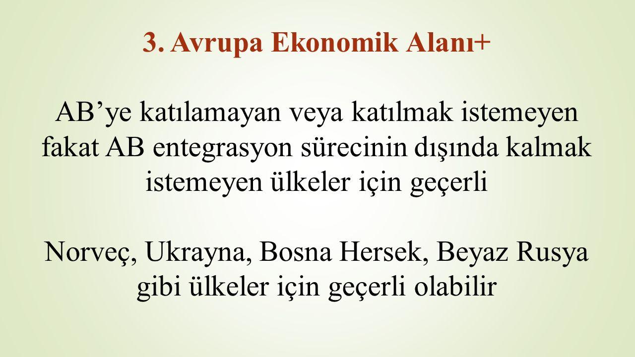 3. Avrupa Ekonomik Alanı+ AB'ye katılamayan veya katılmak istemeyen fakat AB entegrasyon sürecinin dışında kalmak istemeyen ülkeler için geçerli Norve