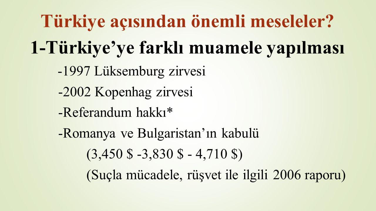 Türkiye açısından önemli meseleler? 1-Türkiye'ye farklı muamele yapılması -1997 Lüksemburg zirvesi -2002 Kopenhag zirvesi -Referandum hakkı* -Romanya