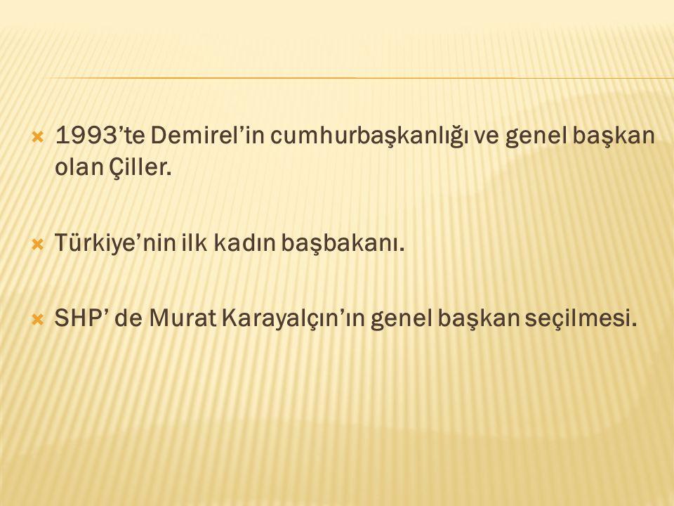  1993'te Demirel'in cumhurbaşkanlığı ve genel başkan olan Çiller.