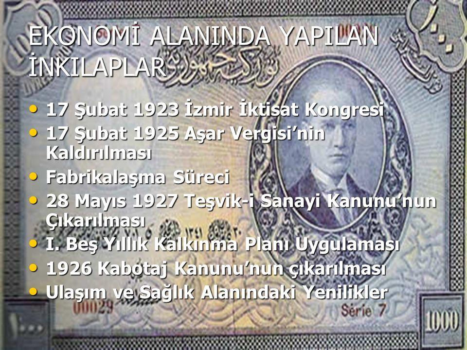 EKONOMİ ALANINDA YAPILAN İNKILAPLAR 17 Şubat 1923 İzmir İktisat Kongresi 17 Şubat 1923 İzmir İktisat Kongresi 17 Şubat 1925 Aşar Vergisi'nin Kaldırılması 17 Şubat 1925 Aşar Vergisi'nin Kaldırılması Fabrikalaşma Süreci Fabrikalaşma Süreci 28 Mayıs 1927 Teşvik-i Sanayi Kanunu'nun Çıkarılması 28 Mayıs 1927 Teşvik-i Sanayi Kanunu'nun Çıkarılması I.