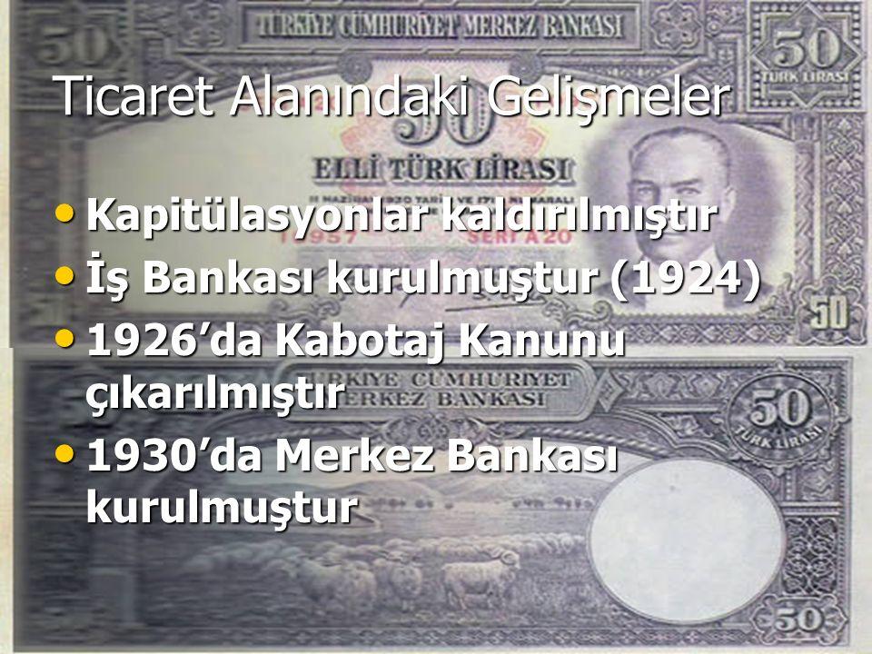 Ticaret Alanındaki Gelişmeler Kapitülasyonlar kaldırılmıştır Kapitülasyonlar kaldırılmıştır İş Bankası kurulmuştur (1924) İş Bankası kurulmuştur (1924) 1926'da Kabotaj Kanunu çıkarılmıştır 1926'da Kabotaj Kanunu çıkarılmıştır 1930'da Merkez Bankası kurulmuştur 1930'da Merkez Bankası kurulmuştur