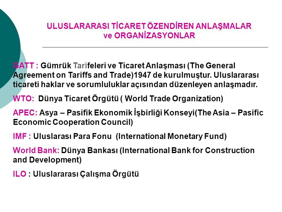 ULUSLARARASI TİCARET ÖZENDİREN ANLAŞMALAR ve ORGANİZASYONLAR GATT : Gümrük Tarifeleri ve Ticaret Anlaşması (The General Agreement on Tariffs and Trade