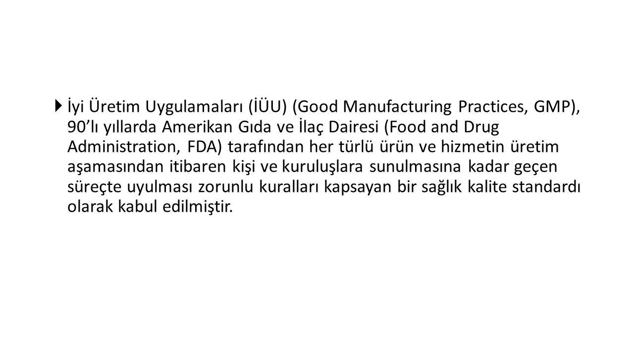  İyi Üretim Uygulamaları (İÜU) (Good Manufacturing Practices, GMP), 90'lı yıllarda Amerikan Gıda ve İlaç Dairesi (Food and Drug Administration, FDA)