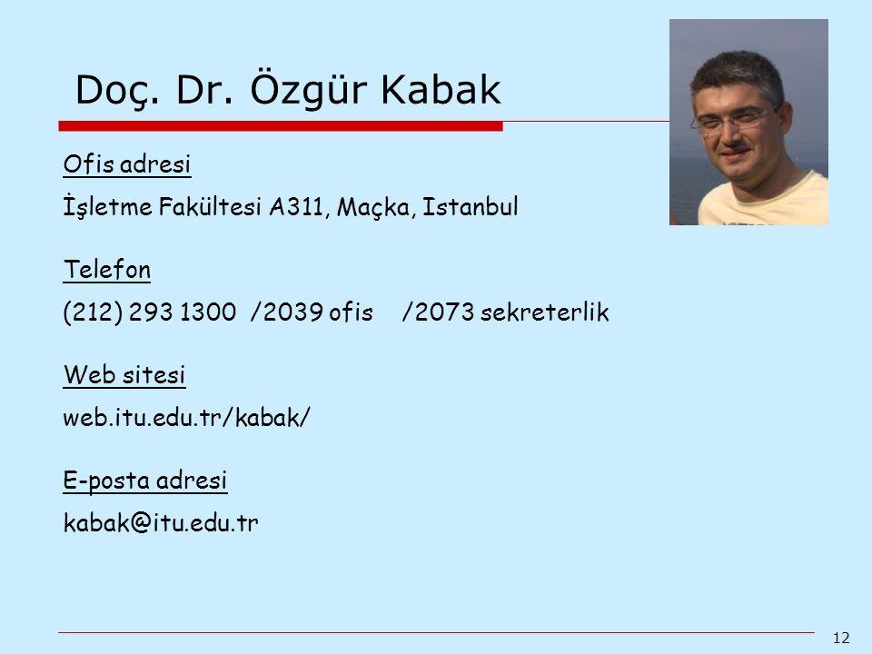 12 Doç. Dr. Özgür Kabak Ofis adresi İşletme Fakültesi A311, Maçka, Istanbul Telefon (212) 293 1300 /2039 ofis /2073 sekreterlik Web sitesi web.itu.edu