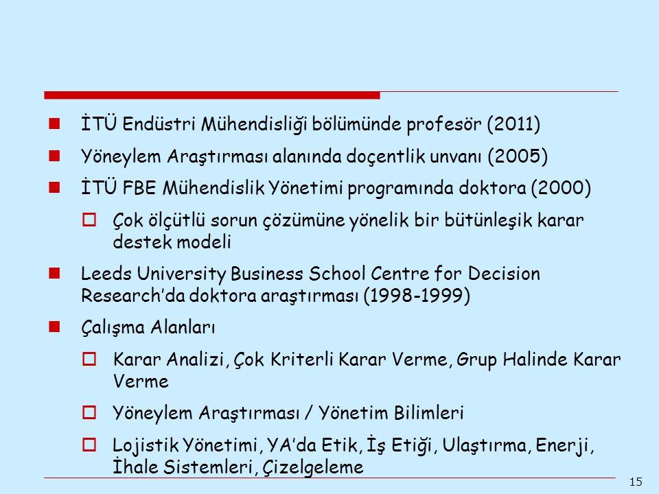 15 İTÜ Endüstri Mühendisliği bölümünde profesör (2011) Yöneylem Araştırması alanında doçentlik unvanı (2005) İTÜ FBE Mühendislik Yönetimi programında