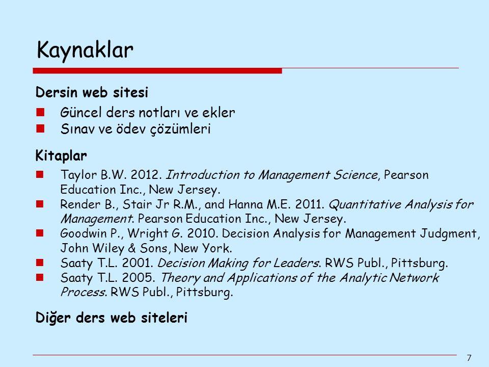 7 Dersin web sitesi Güncel ders notları ve ekler Sınav ve ödev çözümleri Kitaplar Taylor B.W. 2012. Introduction to Management Science, Pearson Educat
