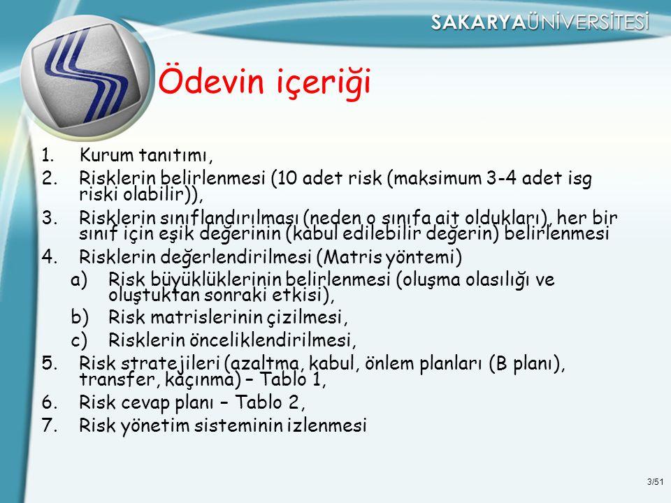 3/51 Ödevin içeriği 1.Kurum tanıtımı, 2.Risklerin belirlenmesi (10 adet risk (maksimum 3-4 adet isg riski olabilir)), 3.Risklerin sınıflandırılması (n
