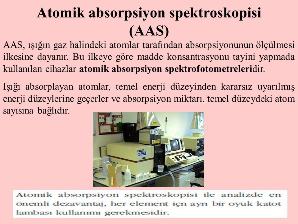 7 Atomik absorpsiyon spektroskopisi (AAS) AAS, ışığın gaz halindeki atomlar tarafından absorpsiyonunun ölçülmesi ilkesine dayanır. Bu ilkeye göre madd