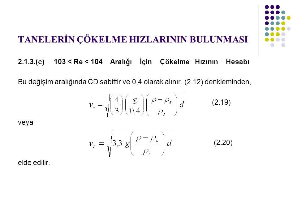 TANELERİN ÇÖKELME HIZLARININ BULUNMASI 2.1.3.(c) 103 < Re < 104 Aralığı İçin Çökelme Hızının Hesabı Bu değişim aralığında CD sabittir ve 0,4 olarak alınır.
