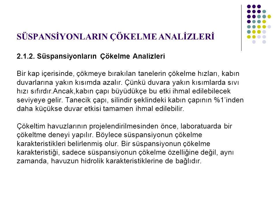 SÜSPANSİYONLARIN ÇÖKELME ANALİZLERİ 2.1.2.