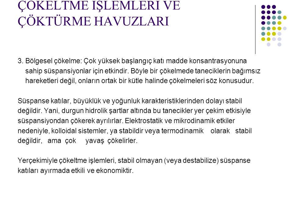 ÇÖKELTME İŞLEMLERİ VE ÇÖKTÜRME HAVUZLARI 3.