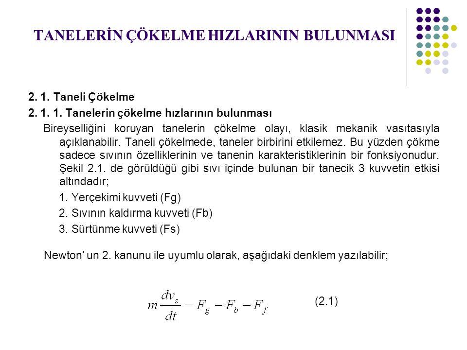 TANELERİN ÇÖKELME HIZLARININ BULUNMASI 2.1. Taneli Çökelme 2.