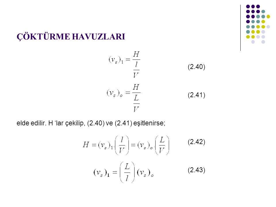 ÇÖKTÜRME HAVUZLARI (2.40) (2.41) elde edilir.