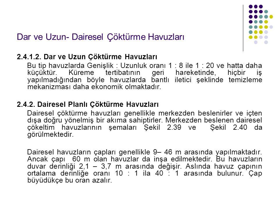 Dar ve Uzun- Dairesel Çöktürme Havuzları 2.4.1.2.