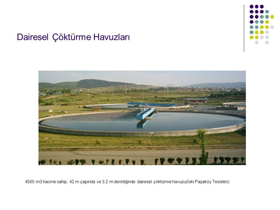 4500 m3 hacme sahip, 42 m çapında ve 3.2 m derinliğinde dairesel çöktürme havuzu(İski Paşaköy Tesisleri)