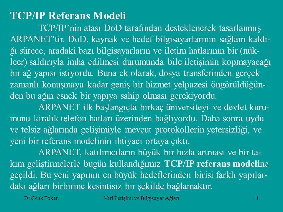 Dr Cenk TokerVeri İletişimi ve Bilgisayar Ağları11 TCP/IP Referans Modeli TCP/IP'nin atası DoD tarafından desteklenerek tasarlanmış ARPANET'tir.