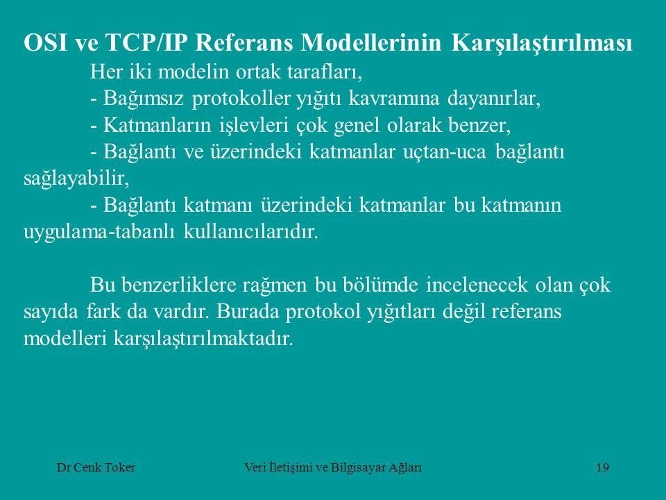Dr Cenk TokerVeri İletişimi ve Bilgisayar Ağları19 OSI ve TCP/IP Referans Modellerinin Karşılaştırılması Her iki modelin ortak tarafları, - Bağımsız p