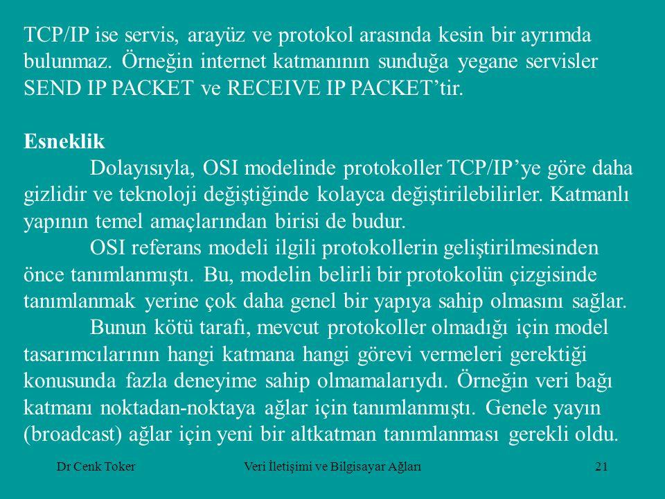 Dr Cenk TokerVeri İletişimi ve Bilgisayar Ağları21 TCP/IP ise servis, arayüz ve protokol arasında kesin bir ayrımda bulunmaz. Örneğin internet katmanı